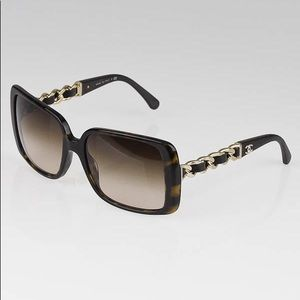 Chanel Tortoise Frame Leather and Chain Sunglasses